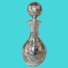 Antique Sterling Overlay Crystal Perfume Bottle  - Art Nouveau