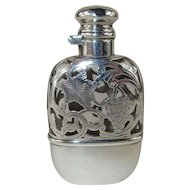 Antique Sterling Silver Overlay Flask and Fitted Cup - c 1900  - No monogram