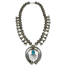 Early Vintage Navajo Sterling & Turquoise Squash Blossom Necklace - c 1930-50 Unusual 4 petal blossoms