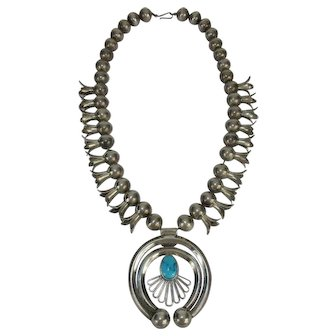 Early Vintage Navajo Sterling & Turquoise Squash Blossom Necklace - c 1930-50 Unusual 4 petal blossom