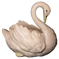 Rare Small Early Staffordshire Pottery Swan for Flowers or Decoration c 1850
