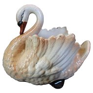 Rare Medium Sized Early English Staffordshire Pottery Swan for Flowers or Decoration  c 1850