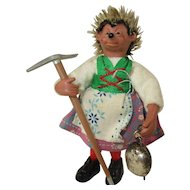Vintage 1960's Steiff Miniature Micki Hedgehog Figure  - with Pick Ax and Tinkling Cow Bell