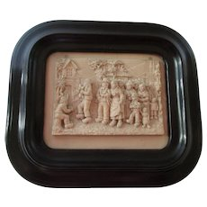 French Antique Carved Stone Bas Relief  - A Wedding Party