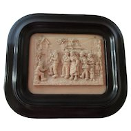 French Intricately Carved Stone Framed Bas Relief  - A Wedding Party