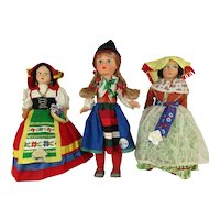 """Three Vintage Souvenir Travel Dolls from the mid 1960's - 10-12"""""""