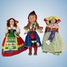 Three Vintage Souvenir Travel Dolls from the mid 1960's - 10-12""