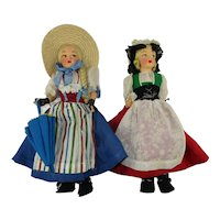 """Two Vintage 12"""" Swiss Regional Dolls from Appenzell and Zug"""