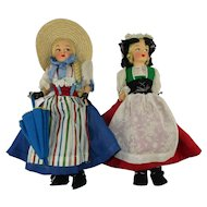 "Two Vintage 12"" Swiss Regional Dolls from Appenzell and Zug"
