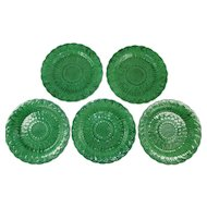 Set of 5 Antique Majolica Wedgwood Salad or Dessert Plates c 1860