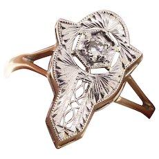 Art Deco 20k White Gold Diamond Conversion Stick Pin Ring, Upcycled