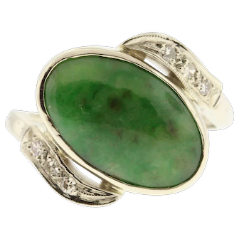 Vintage Jade 14k White Gold & Diamond Ring, Upcycled