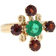 Vintage Natural Emerald & Garnet 14k Yellow Gold Conversion Ring, Stick Pin Ring Uncycled