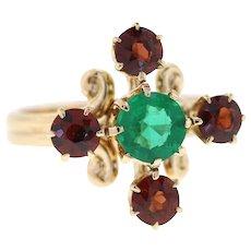 Vintage Natural Emerald & Garnet 14k Yellow Gold Conversion Ring, Stick Pin Ring Uncycled