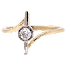 Old Mine Diamond Stick Pin Conversion Ring, 14k Yellow Gold & Platinum