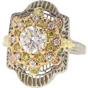 Art Deco Filigree Yellow Diamond Engagement Ring