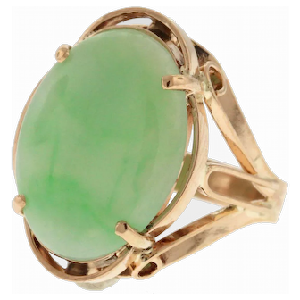 Retro Jade 18k Rose Gold Ring
