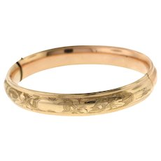 Antique Edwardian Floral Engraved Gold-Filled Hinged Bangle - Red Tag Sale Item