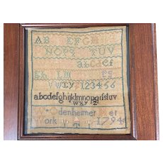 Rare Miniature Chester Co., PA Quaker 18th Century Needlework Sampler Signed & Dated 1794.