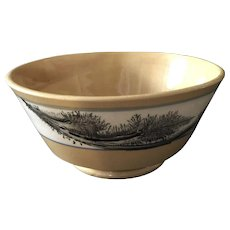 19th Century Yellow ware Bowl with Black Seaweed Decoration in Outstanding Condition.
