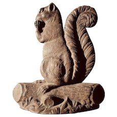 Antique Cast Iron Squirrel Doorstop In Original Surface and Fine Detail.