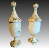 Wonderful Pair of 19th Century Antique Turned Wood Finials Great Surface/Paint!