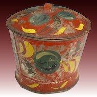 Rare Red Paint Decorated Tin/Toleware Antique 19th C. Sugar Bowl w/ Lid, Original Paint Decoration.