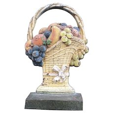 Antique Cast Iron Basket w/ fruit doorstop In Original Paint by CJO Judd, CT