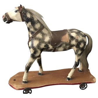Outstanding Large Antique 19th C. Paint Decorated Horse Pull Toy.