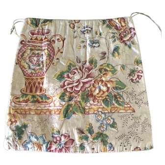 Rare 19th C. Glazed Chintz Sewing/Notions Handbag/Purse in Exceptional Condition
