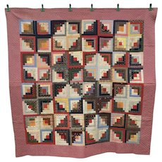 Lancaster County Penna. Sunshine & Shadow Log Cabin Antique Quilt! 1890.