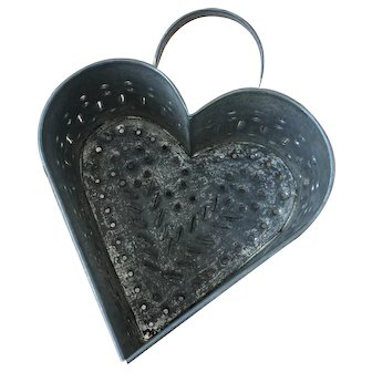 Antique 19th C. Pierced/Punched tin/Toleware Heart shaped Cheese Mold.