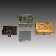 """Collection of 4 Miniature Antique Painted Toleware/Tin Gift Boxes from 2-3/4""""to 4""""wide."""