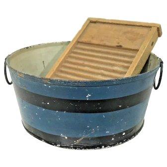 "Miniature 4"" D Toleware/Tin Wash Tub in Original Blue Paint w Washboard"
