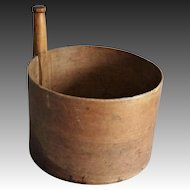 """Large 13"""" Diameter Antique 19th C. Measure w/ Carved """"Clothespin"""" Handle."""