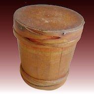 "Rare Miniature 4"" diameter Staved Wooden Bucket with Interlocking Bands."
