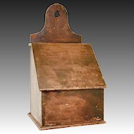 Antique 19th C. Slant Lid Wall/Candle/Spice/Salt Box w/ Tombstone Back in Original Finish.