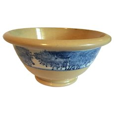"Rare 19th C. Seaweed Decorated Bowl Mochaware/Yelloware 8-1/8"" D."