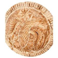 Antique 19th C. Carved & Turned Eagle Butter Print/ Stamp/ Mold/ Press.