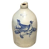 Outstanding 4 Gallon Cobalt Decorated Stoneware Jug.