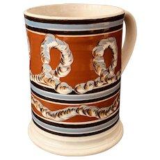 Exceptional Large Antique 19th C. Mochaware/Creamware Mug/Tankard w/ Earthworm Decoration.