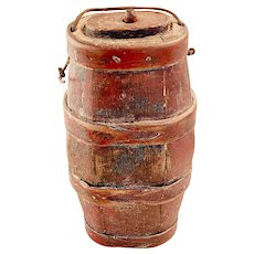 Antique 18th/19th C. Staved Small OvalField Keg or Powder Keg w/ Buttonhole bands in Original Paint.