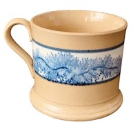Antique 19th C. Yellow Ware Mug w/ Blue Seaweed Decoration,Mint.
