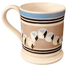Antique 19th C. Creamware/Mochaware Mug w/ Cat's Eye Decoration.