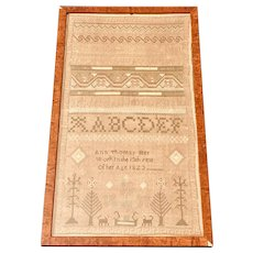 """Antique 19th C. Needlework Sampler by """"Ann Thomas, Her Work In The 13th Year Of Her Age, 1823""""."""
