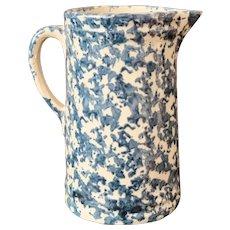 "Antique 19th C. Blue & White 9"" Spongeware Pitcher"
