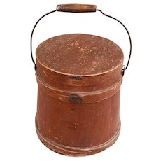 Antique 19th C. Painted Firkin/Sugar Bucket/Pantry Box.