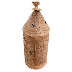 Antique 19th C. Punched Tin Candle Lantern.