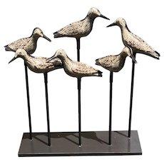"Set of 6 Antique Tin Shorebird Decoys, ""Tinnie"" Decoys in Original Paint decoration."