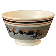 Antique 19th C. Mochaware Bowl Earthworm Decoration, Mint.
